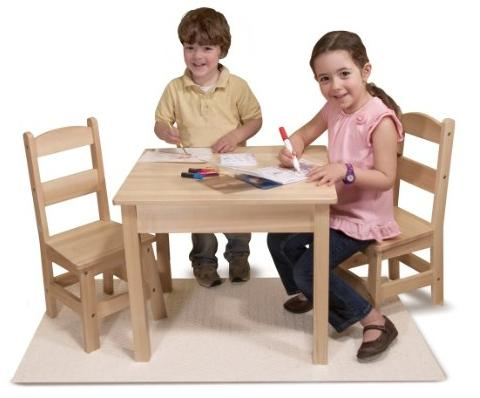 Melissa & Doug Wooden Table and 2 Chairs Set
