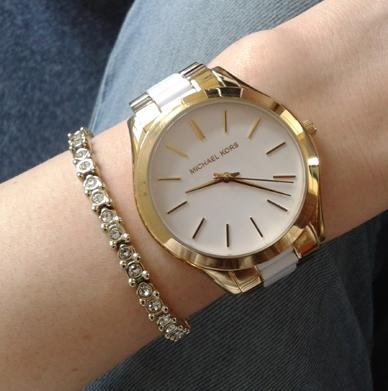 Michael Kors Women's Slim Runway Gold-Tone Stainless Steel and White Acetate White Dial Watch MK4295