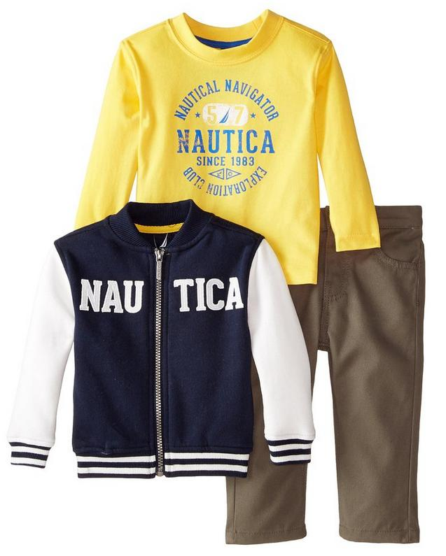 Nautica Baby Boys' 3 Piece Set Fleece Long Sleeve Tee Twill Pant