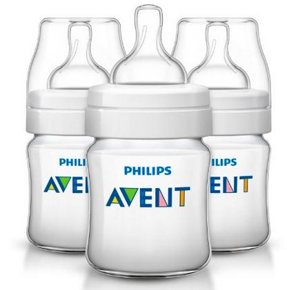 Philips AVENT Classic Plus BPA Free Polypropylene Bottles, Clear, 4 Ounce (Pack of 3)