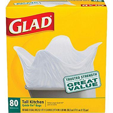 Glad® Tall Kitchen Quick-Tie Trash Bags, 13 Gallon, 80 Count