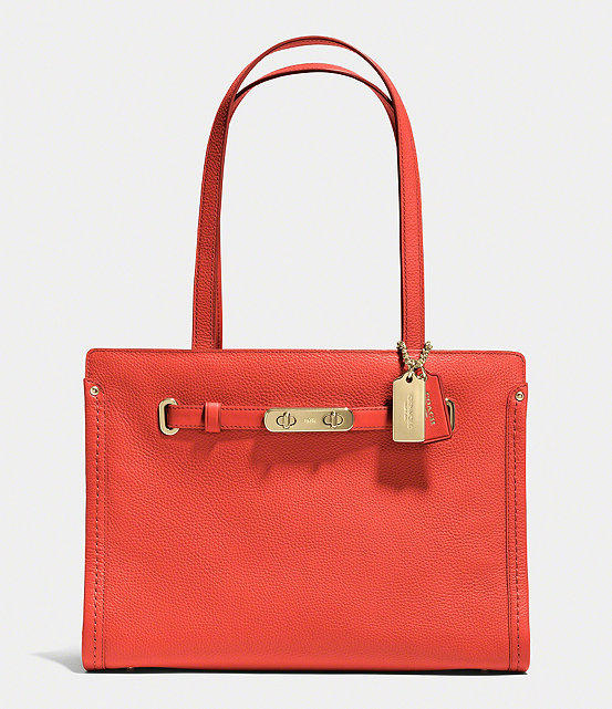 COACH SWAGGER SMALL TOTE IN POLISHED PEBBLE LEATHER @ Dillard's
