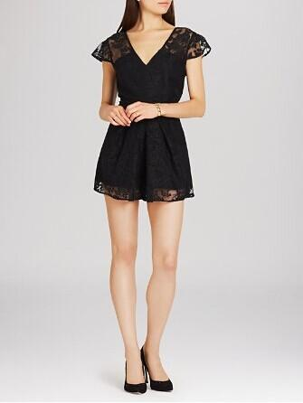 BCBGeneration Cap Sleeve Pleated Romper @ Bloomingdales