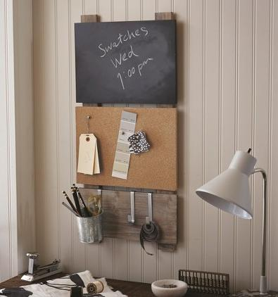 Bulletin Board with Chalkboard and Hooks