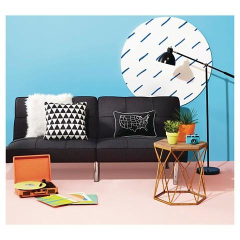 Black Microfiber Futon + Room Essentials 16X16 Mirror