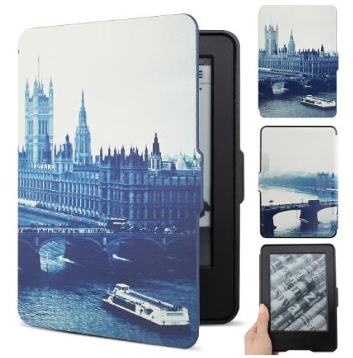 Walnew Kindle 7th Gen Colorful Painting Smartshell Case - The Thinnest and Lightest Leather Cover for Amazon Kindle