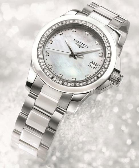 Longines Conquest Mother of Pearl Diamond Dial Stainless Steel Watch L3.281.0.87.6
