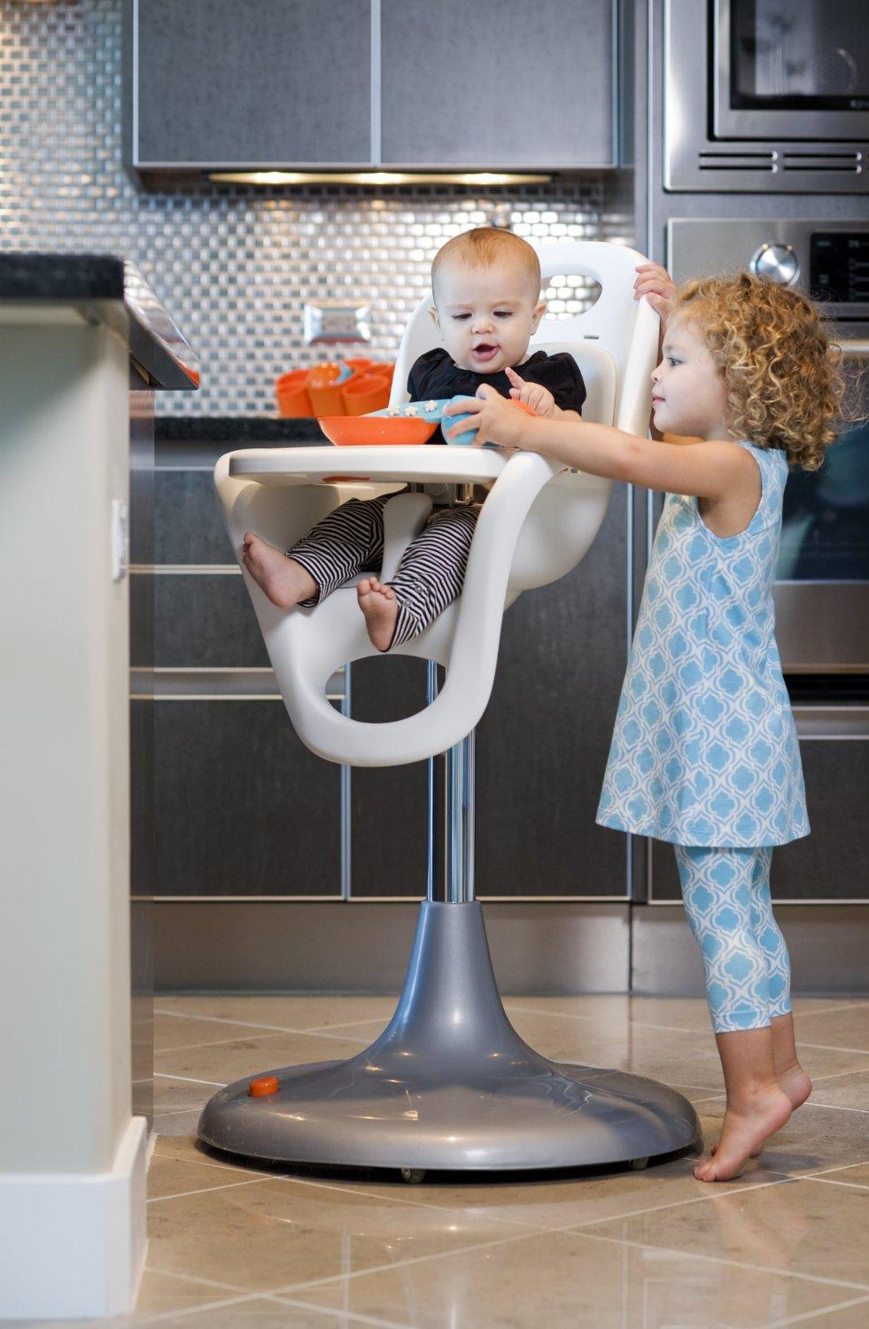 Boon Flair Pedestal Highchair with Pneumatic Lift, White/Orange
