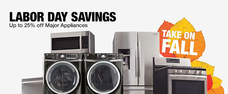 Up to 25% Off Major Appliances @ Home Depot