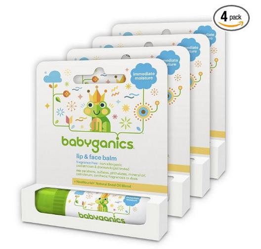 Babyganics Lip and Face Balm, Fragrance Free, 0.25oz Stick (Pack of 4)