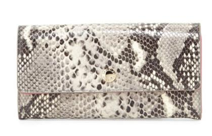 Badgley Mischka  Kiera Embossed Leather Wallet, Fuchsia/Natural @ Neiman Marcus