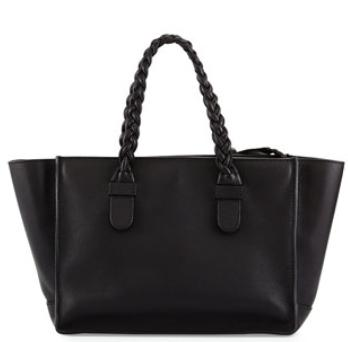 Valentino T.B.C. Braided Small Tote Bag, Black @ Neiman Marcus