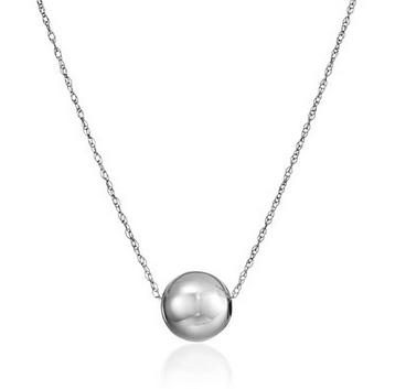 14k white Gold Bead Pendant Necklace