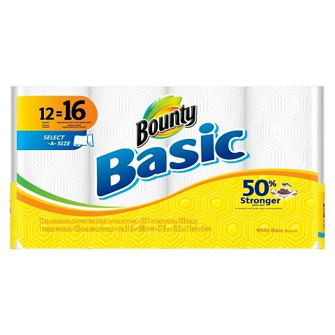 $26.97 3 x Bounty Basic Select-A-Size White Paper Towels 12 Big Rolls + $10 Target Gift Card