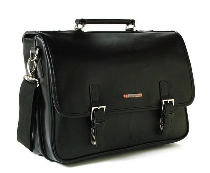 Alpine Swiss Hunter Leather Briefcase Dressy Flap-Over Buckle Computer Messenger Black