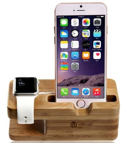 [2 in 1 Apple Watch Stand] iClever iWatch Bamboo Wood Charging Stand Bracket Docking Station Stock Cradle Holder for All Apple Watches