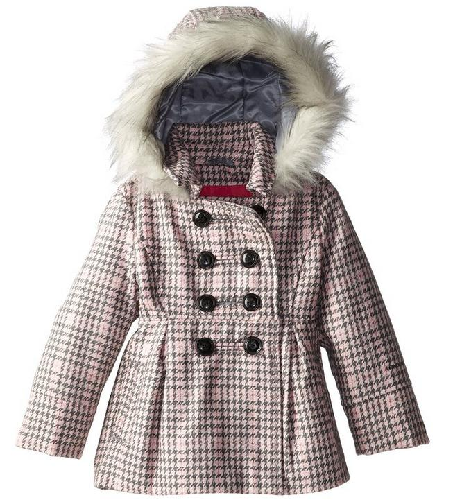 $30.82 London Fog Little Girl's Houndstooth Plaid Faux Wool Coat