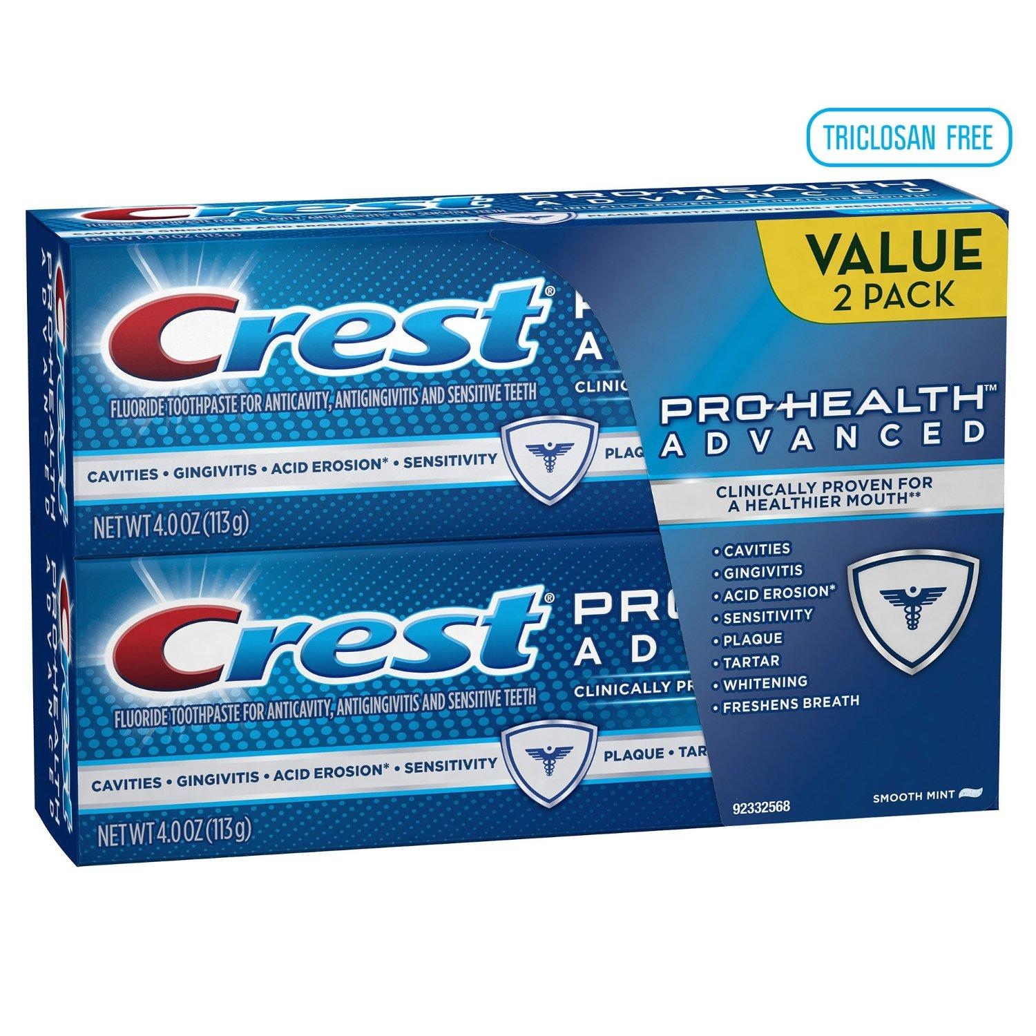Crest Pro-Health Advanced Smooth Mint Toothpaste 4 oz, Twin Pack