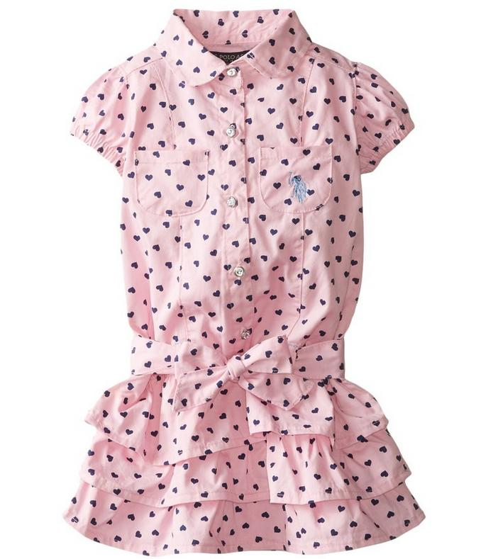 U.S. POLO ASSN. Little Girls' Twill Heart-Print Ruffle Dress