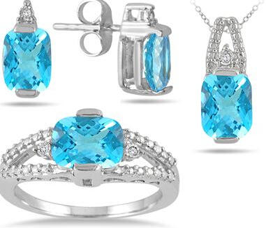 $295.75 Carat Genuine Swiss Blue Topaz & Diamond Matching Ensemble in .925 Sterling Silver