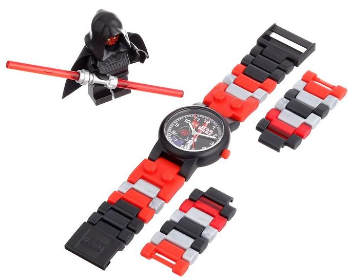 LEGO Kids' Star Wars Darth Maul Plastic Watch with Link Bracelet and Figurine