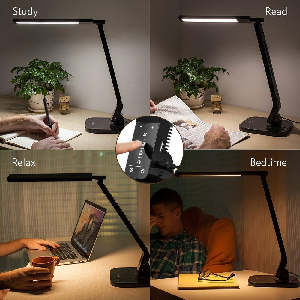 $29 Cocoweb TT-DL01 Dimmable LED Desk Lamp, 4 Lighting Modes 5-Level Dimmer, Touch-Sensitive Control Panel, 1-Hour Auto Time