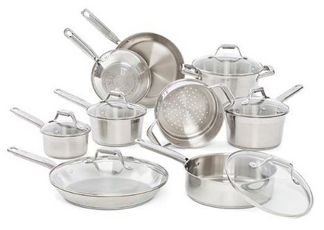 T-fal Elegance Stainless Steel Cookware Set, 15-Piece