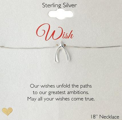 Sterling Silver Wishbone Pendant Necklace, 18
