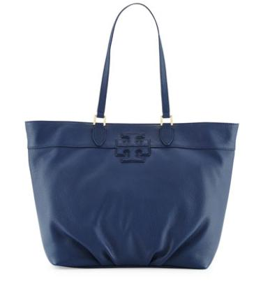 Tory Burch Leather Stacked-T Logo Tote Bag, Starless Night @ Neiman Marcus