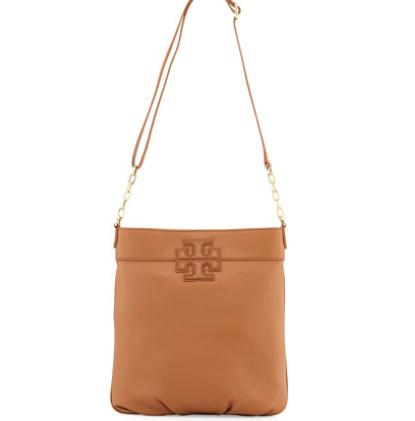 Tory Burch Leather Stacked-T Logo Book Bag, Bark @ Neiman Marcus