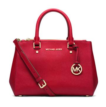 MICHAEL Michael Kors  Sutton Small Saffiano Satchel Bag, Chili @ Neiman Marcus