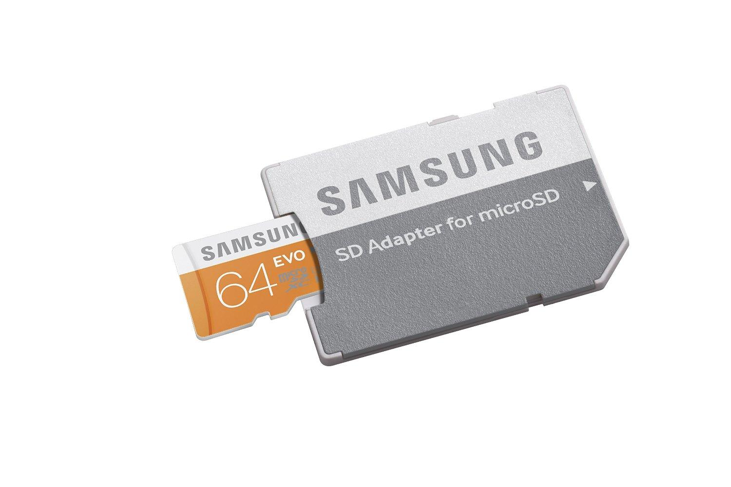 $18.74 Samsung 64GB or 64GB EVO Class 10 microSD Card with Adapter