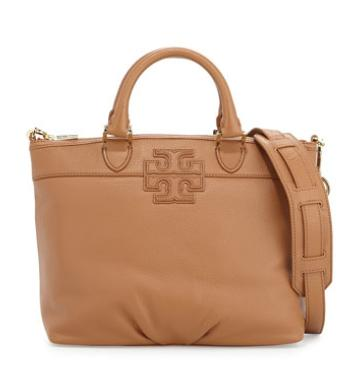 Tory Burch Stacked-T Small Satchel Bag, Bark @ Neiman Marcus