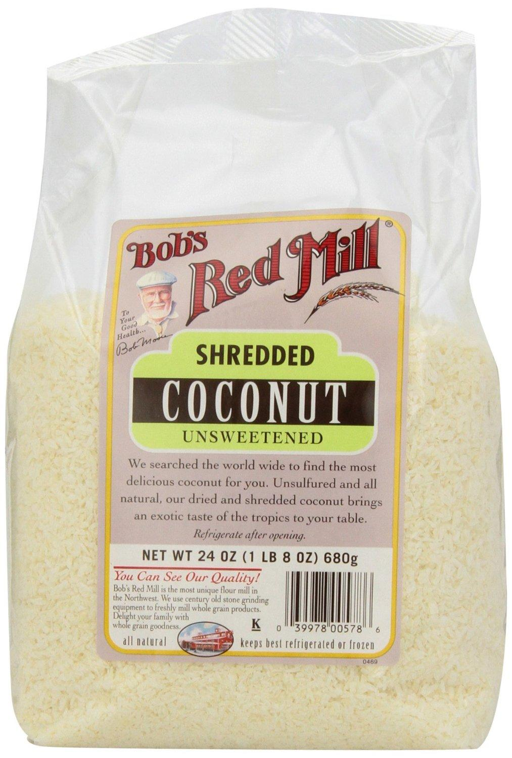 Bob's Red Mill Unsweetened Medium Shredded Coconut, 24-Ounce Packages (Pack of 4)