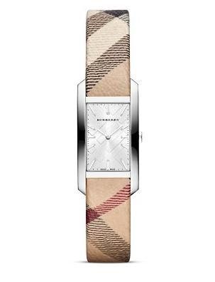 Burberry Haymarket Strap Rectangle Watch, 20mm @ Bloomingdales