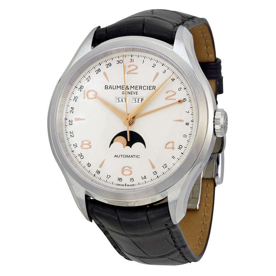 $2095 Baume & Mercier Clifton Silver Dial Moonphase Black Alligator Leather Men's Watch 10055