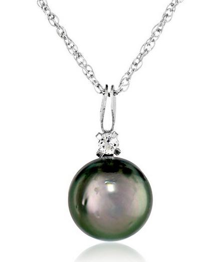 Sterling Silver Tahitian Cultured Pearl and White Topaz Pendant Necklace, 18