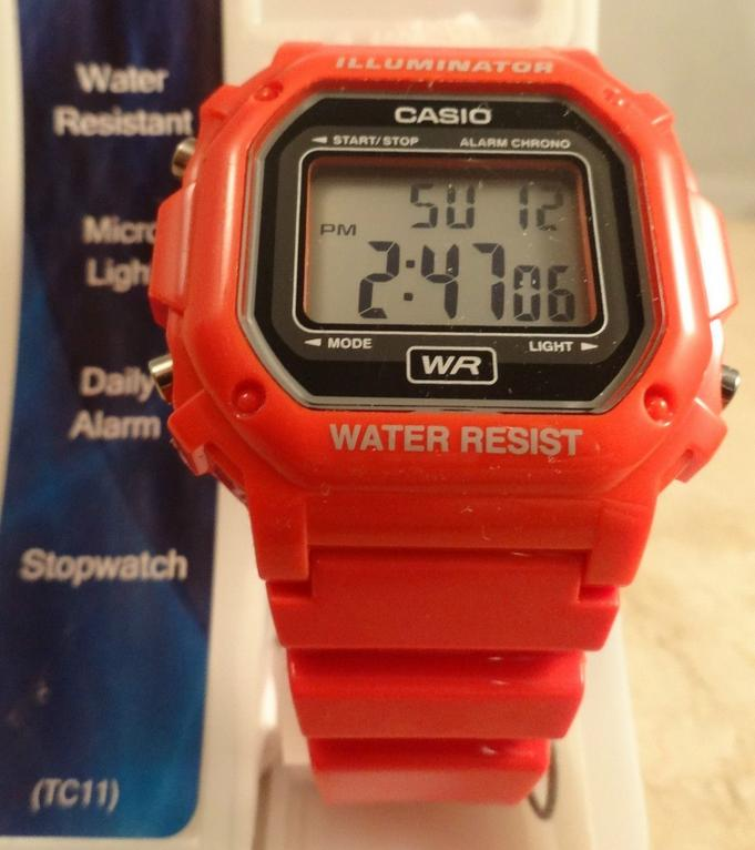 $10 Casio F-108WHC-4ACF Classic Red Stainless Steel Watch