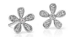 Diamond Flower Stud Earrings in 14k White Gold (Dealmoon Exclusive)