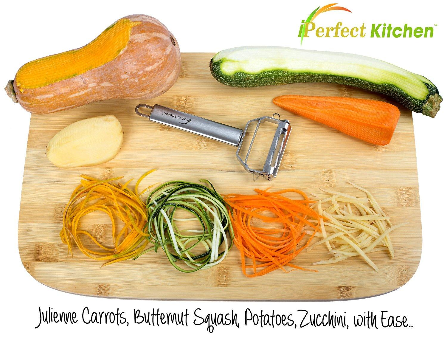 $8.95 iPerfect Kitchen Ultra Sharp Stainless Steel Dual Julienne & Vegetable Peeler with Cleaning Brush