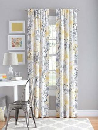 $11.84 Your Zone Floral Polyester Curtain Panel