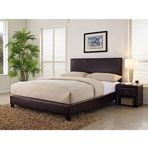 Stratus Queen Upholstered Bed, Brown Faux Leather