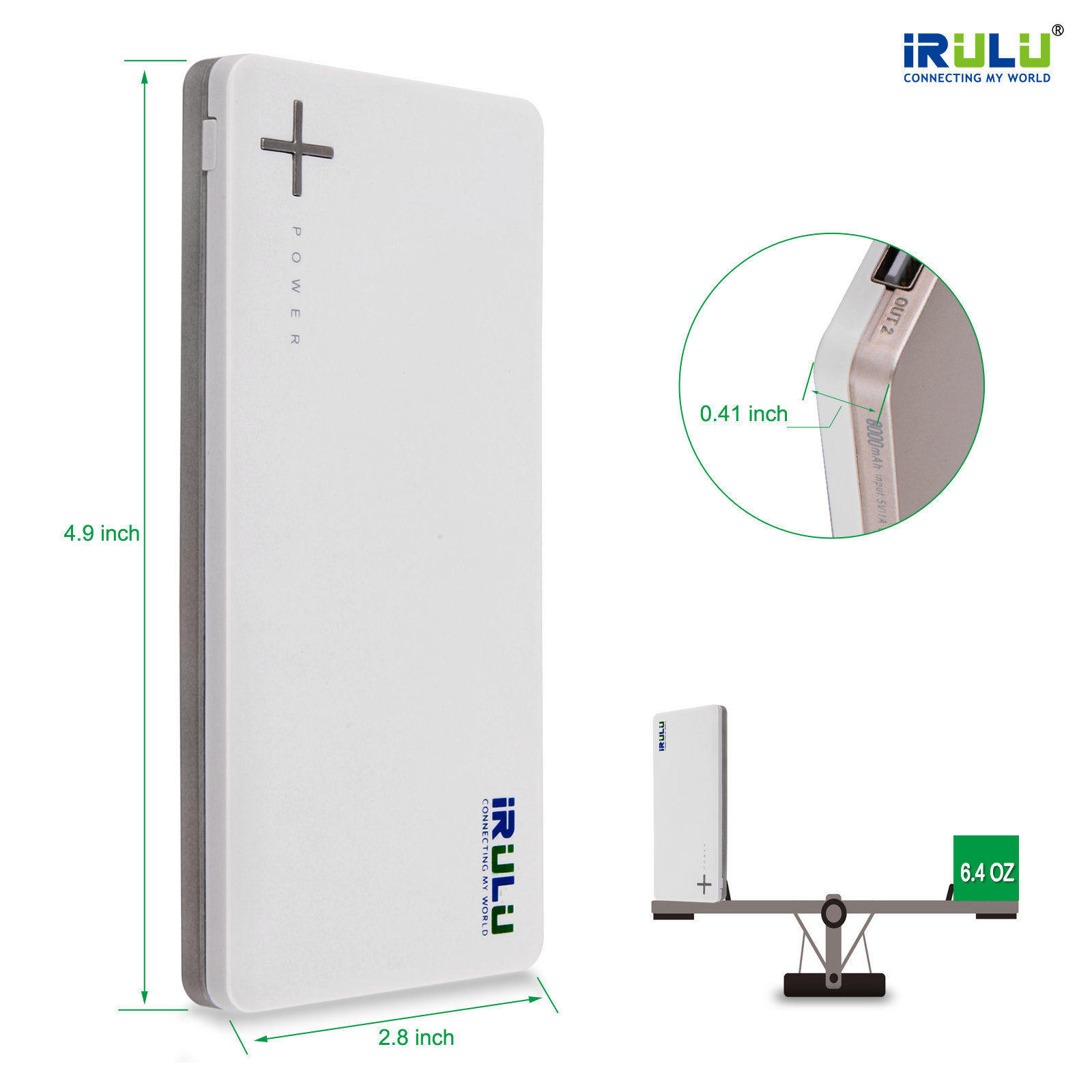 IRULU 8000mAh USB Backup Portable Power Bank