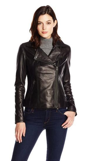 Tommy Hilfiger Women's Classic Leather Motorcycle Jacket