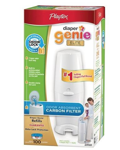 $26 Diaper Genie Elite Diaper Pail with Carbon Filter and 100ct Refill