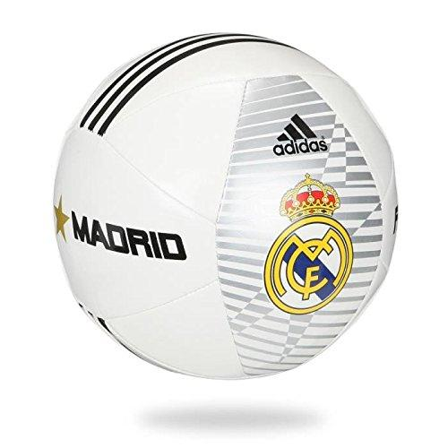 adidas Performance Real Madrid Soccer Ball, White/Black/Matte Gold, Size 5 : Sports & Outdoors