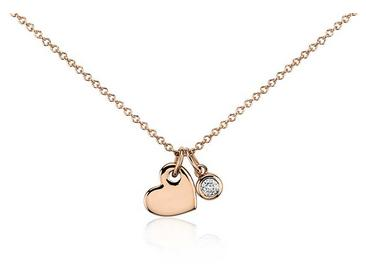 Dealmoon Exclusive! $320($400) Heart and Diamond Charm Pendant in 14k Rose Gold (1/20 ct. tw.)