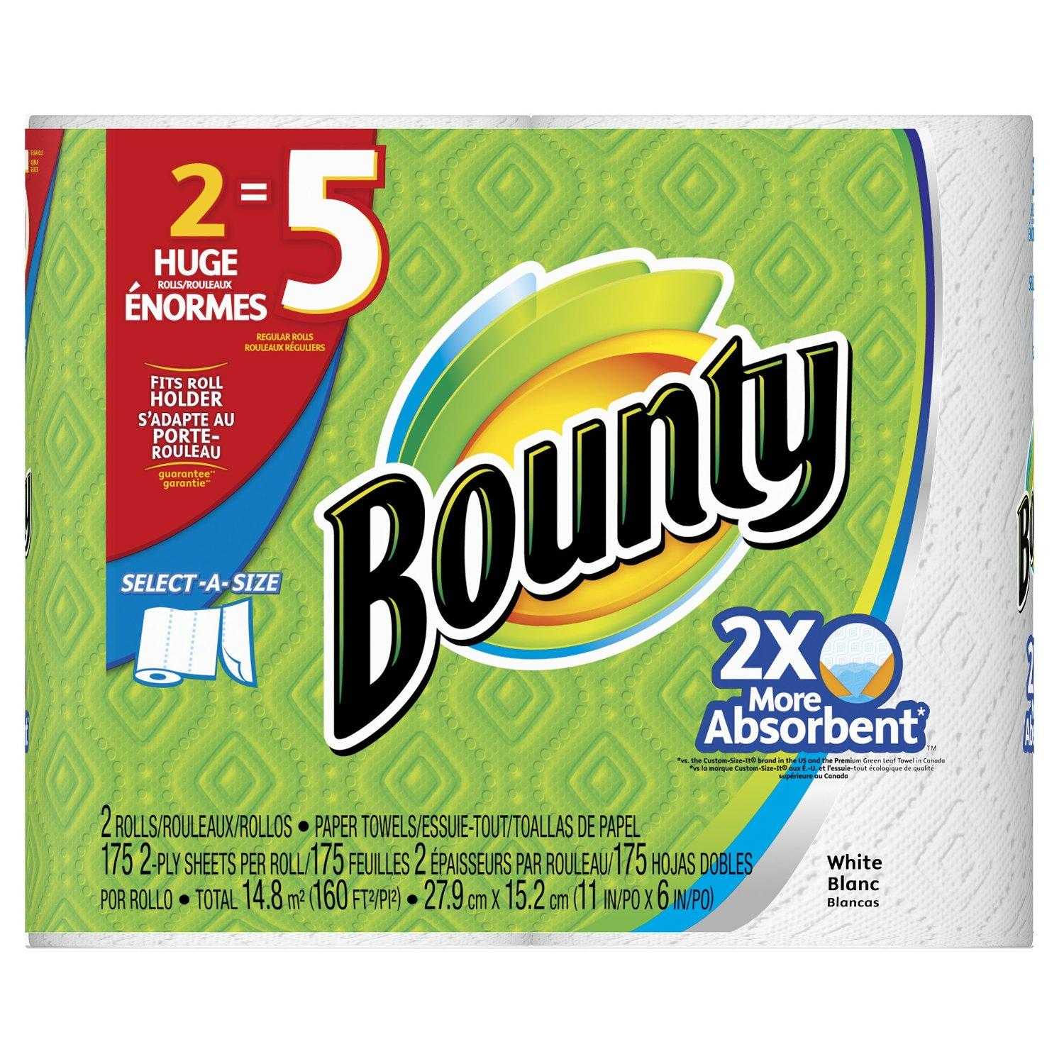 $20.79 Bounty Select-A-Size Paper Towels, Huge Rolls, White, 12 Count