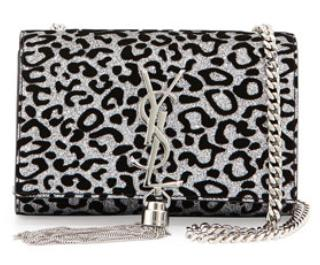 Saint Laurent  Monogram Small Glitter Leopard-Print Tassel Crossbody Bag, Platine/Noir