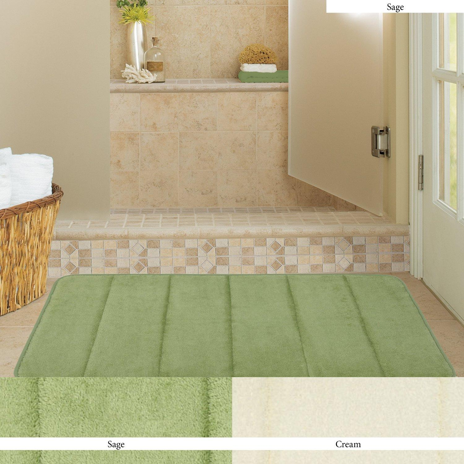 Townhouse Rugs Memory Foam Bath Rug, 17-Inch by 24-Inch, Sage